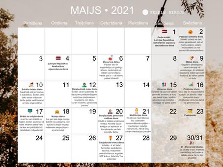 Vesels Birojs labsajūtas kalendārs maijam