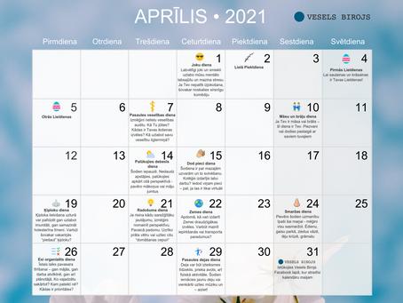 Vesels Birojs kalendārs aprīlim