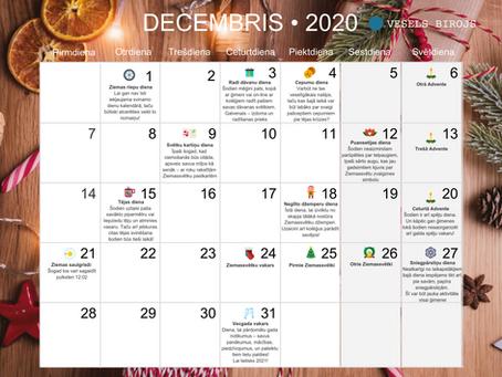 Labsajūtas kalendārs 2020.gada decembrim