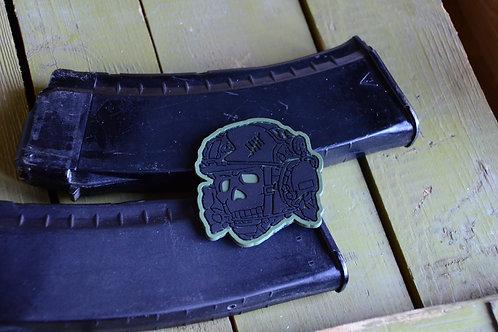 Патч, нашивка из ПВХ череп Tactical Totenkopf с липучкой. Черный.
