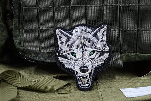 Нашивка, патч морда волка.