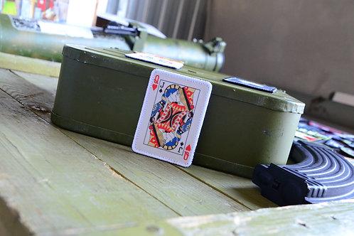 Нашивка, патч игральная карта Дама, с липучкой