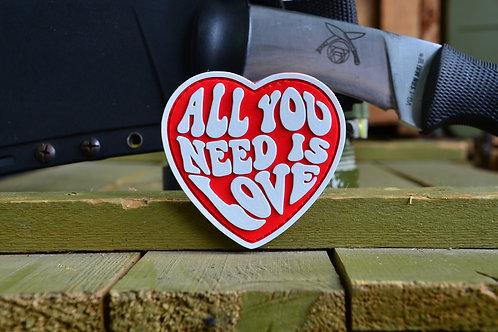 Патч, нашивка All you need is love, ПВХ с липучкой.