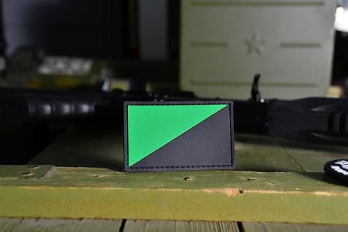Патч, нашивка черно-зеленый флаг, ПВХ с липучкой.