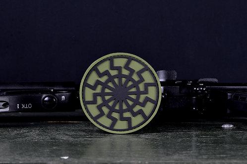 Патч, нашивка черное солнце (хаки) ПВХ с липучкой.
