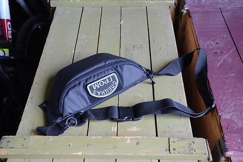 Черная поясная сумка, подсумок с патч панелью.