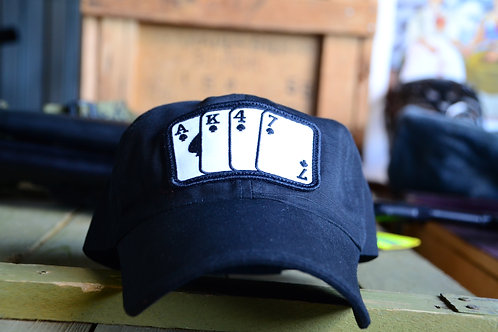 Черная бейсболка игральные карты АК-47