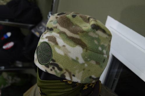 Флисовая шапка, Шлем Ужаса  в мультикаме. Плотность 250 грамм