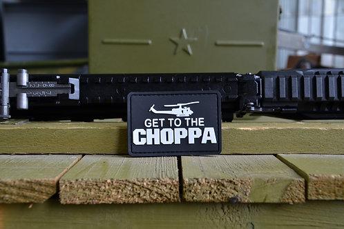 Патч, нашивка Get to the CHOPPA, ПВХ с липучкой.