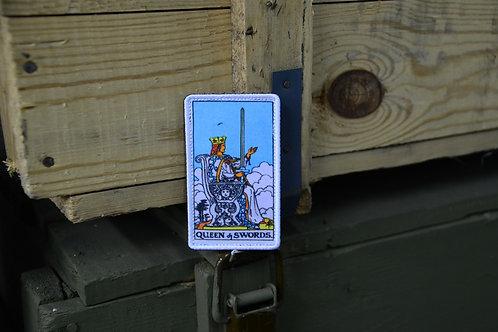 Патч, нашивка карта Таро Дама Мечей, Queen of Swords с липучкой