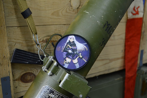 Патч, нашивка Girls Frontline, T-girls HK 416 с липучкой. Диаметр: 8 см