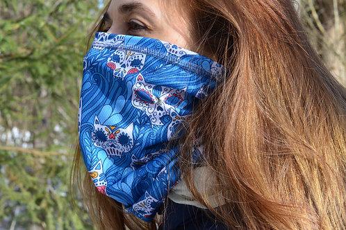 Голубой женский шарф бафф, труба в расцветке Sugar Skull cats, Коты день мертвых