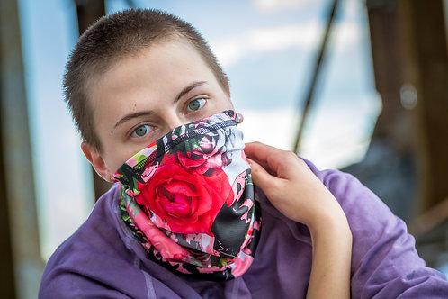 Женский шарф бафф-труба черепа и цветы.