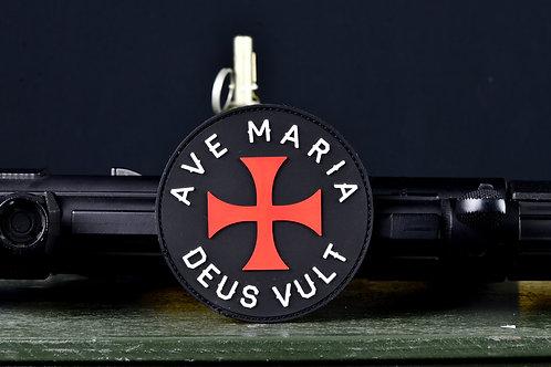 """Нашивка, патч """"Ave Maria, Deus Vult"""", ПВХ с липучкой."""