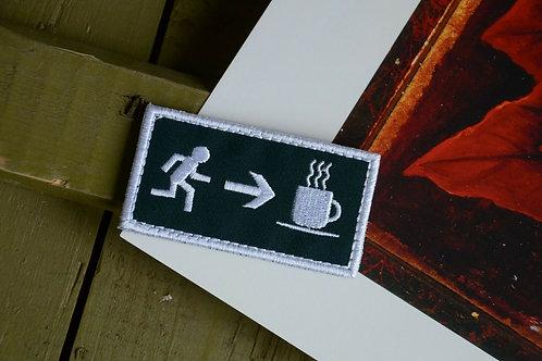 Патч, нашивка эвакуационный выход за кофе, с липучкой.