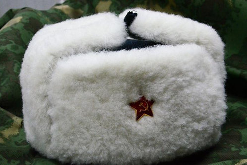 Шапка из овчины армейская белая, РККА.