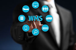 Warehouse management system concept. Man