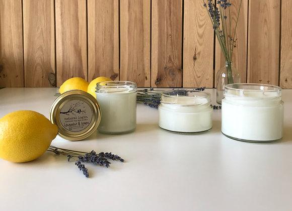organic lavandin & lemon european soy candle