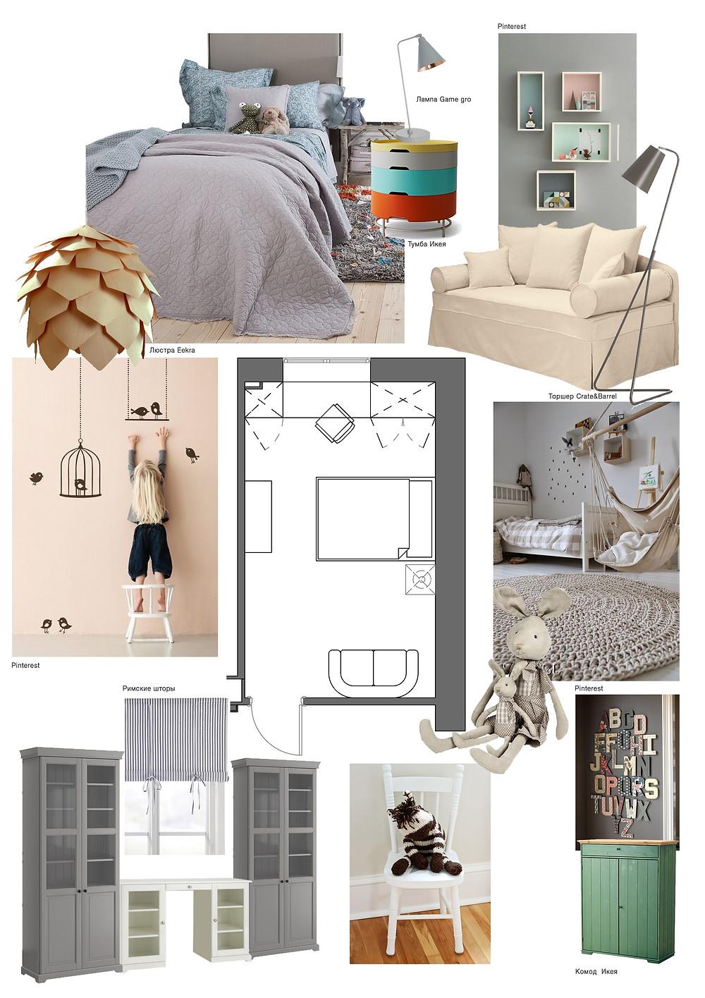 Детская комната в квартире типовой застройки, маленькой площади.