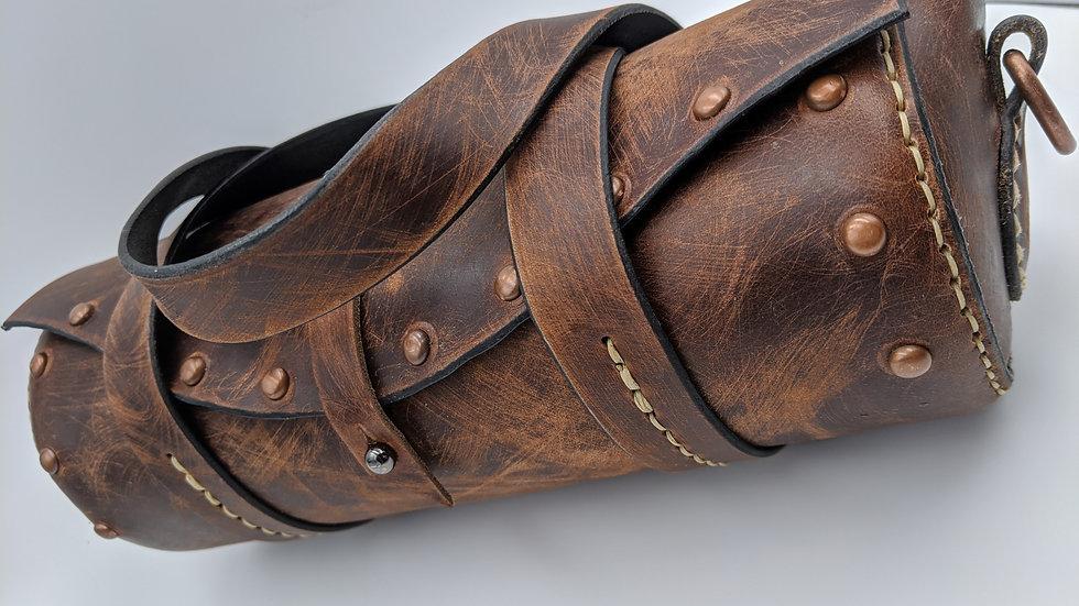 Round Steampunk Horween Leather Dark Brown Dublin Purse