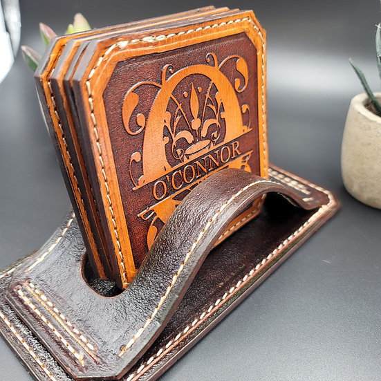 Elegant Personalized Leather Coasters