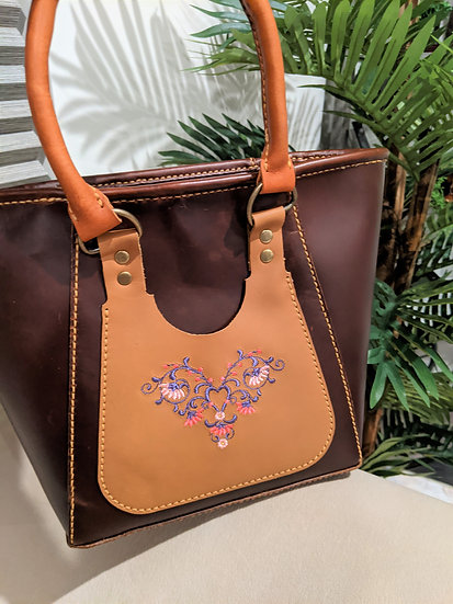 Leather Tote Bag with Embroidery heart and flowers/Tote Bag,Leather Purse