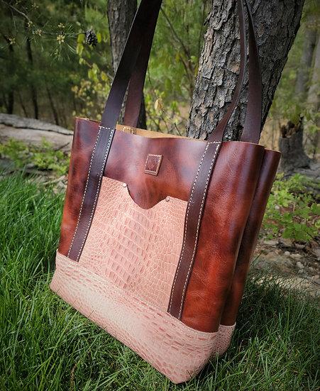 English-Tan Dublin Leather with Sabana embossed crocodile Print Coral
