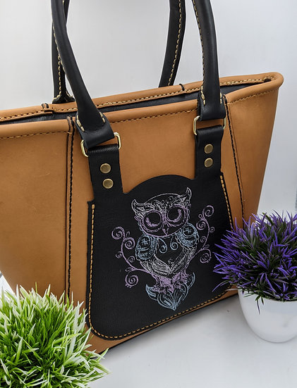 Leather Tote Bag with Embroidery Owl styled pattern/Tote Bag, Custom Leather Pur