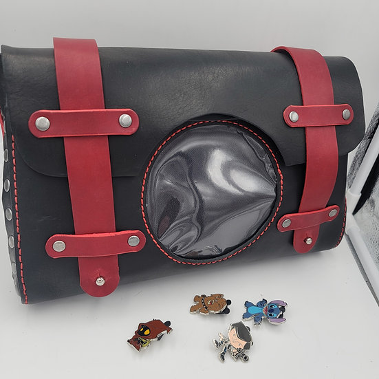 Black and Red Crossbody Leather ITA bag/Messenger bag with clear vinyl display p