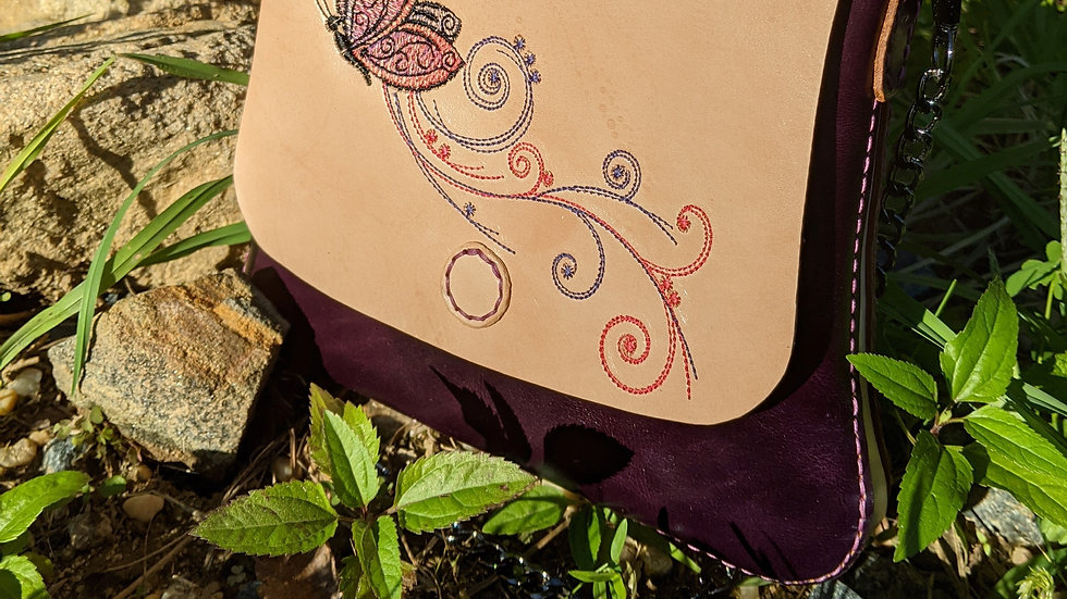 Demure Leather Electric Purple Ladies Butterfly Purse