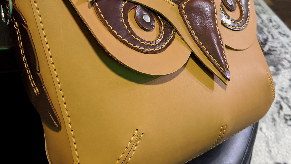 Tan Leather Owl Purse/Leather bags Handbags leather cross body bags for women sh