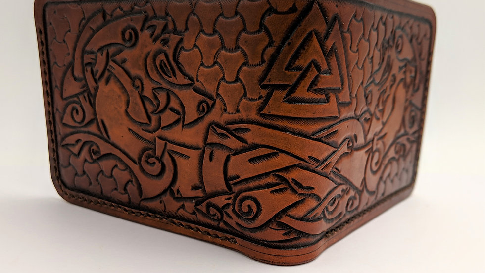 Viking Horse Leather Wallet/Norse Symbol/Odin/Valknut