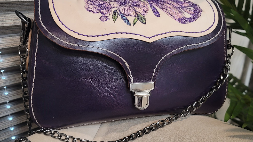 Tasman - Demure Amethyst Purse with Butterfly Embroidery of Flower and Butterfly