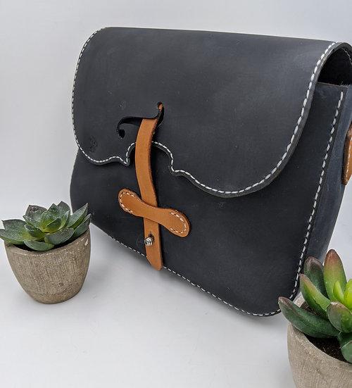 Oil Tanned Blue Leather Violin Inspired Purse/Handbag
