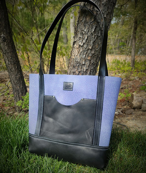 Limited Bison Leather-Lilac Blue Tote bag