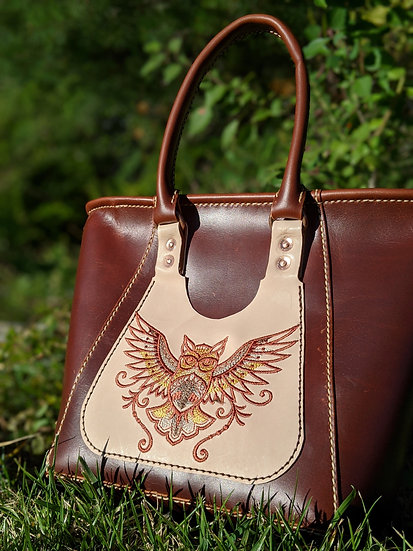Milled Maple Leather Tote Bag with Embroidery Brown Owl Tote Bag, Custom Leather