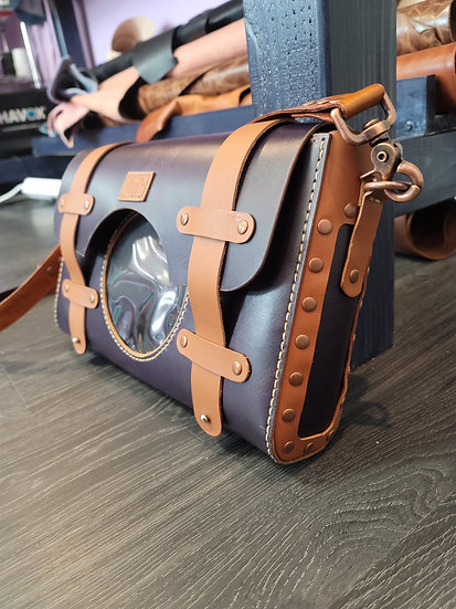 Electric Purple and Brown Crossbody Leather ITA bag