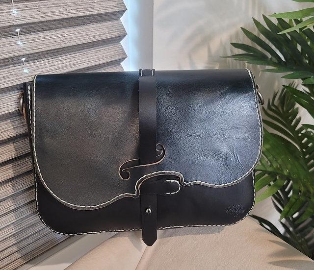 Dark Aztec Green and black Leather Violin Inspired Purse/Handbag/Violin Lovers/V