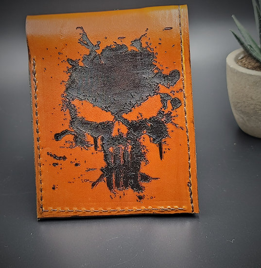Hand made The Punisher inspired Leather Wallet/ Father's Day gift / Skull Wallet