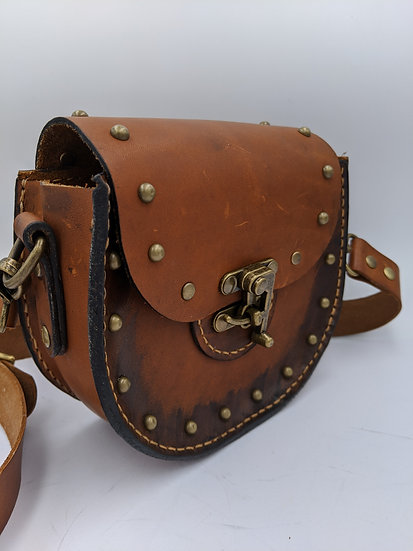 Genuine Leather Steampunk small Purse/Crossover Bag
