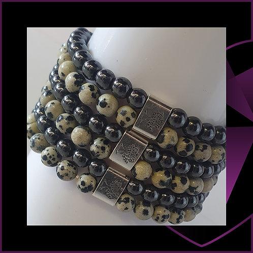 Magnetic Gemstone Bracelet Dalmatian Jasper