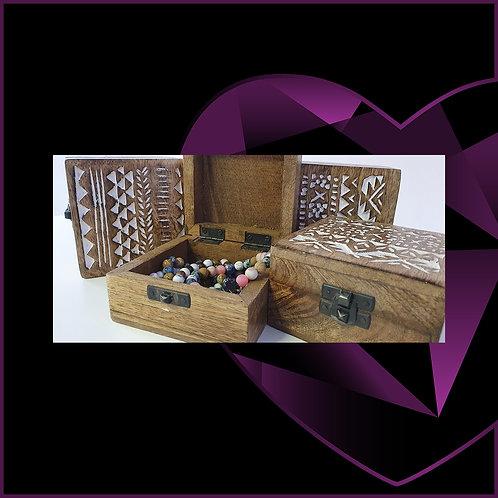 Mango Wood White Washed Wooden Box 10.5cm x 10.5cm