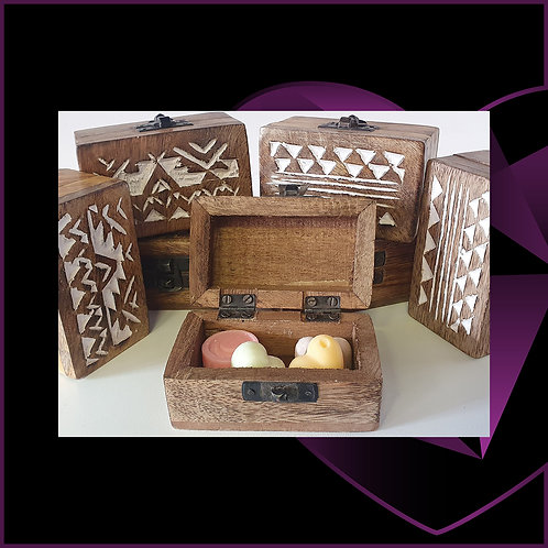 Mango Wood White Washed Wooden Box 9cm x 5.5cm