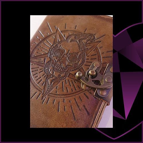 Handmade Leatherbound Notebook Skull Burnt Edges
