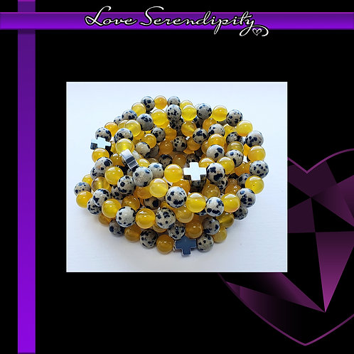 PROTECTION Dalmation Jasper and Yellow Agate