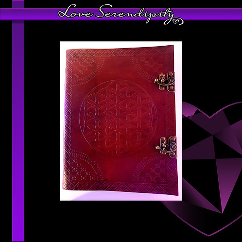Leather Bound Notebook Large Flower Of Life