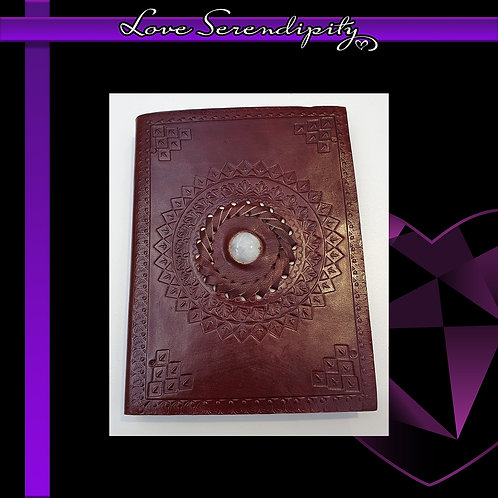 Leather Bound Notebook Moonstone Lined