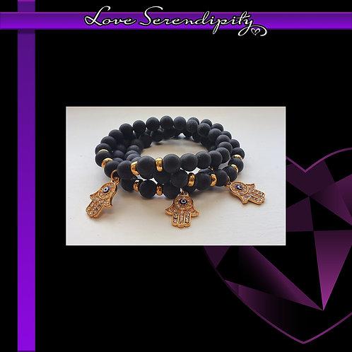 Hamsa Black Agate