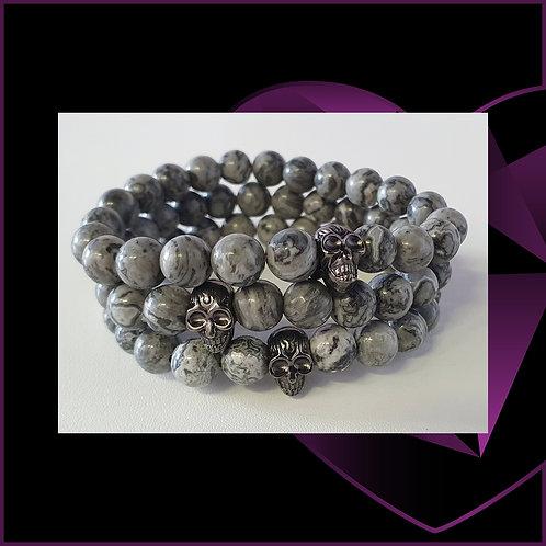 Pewter Skull Grey Agate