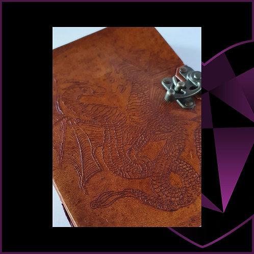 Handmade Leather Bound Notebook Dragon Design A